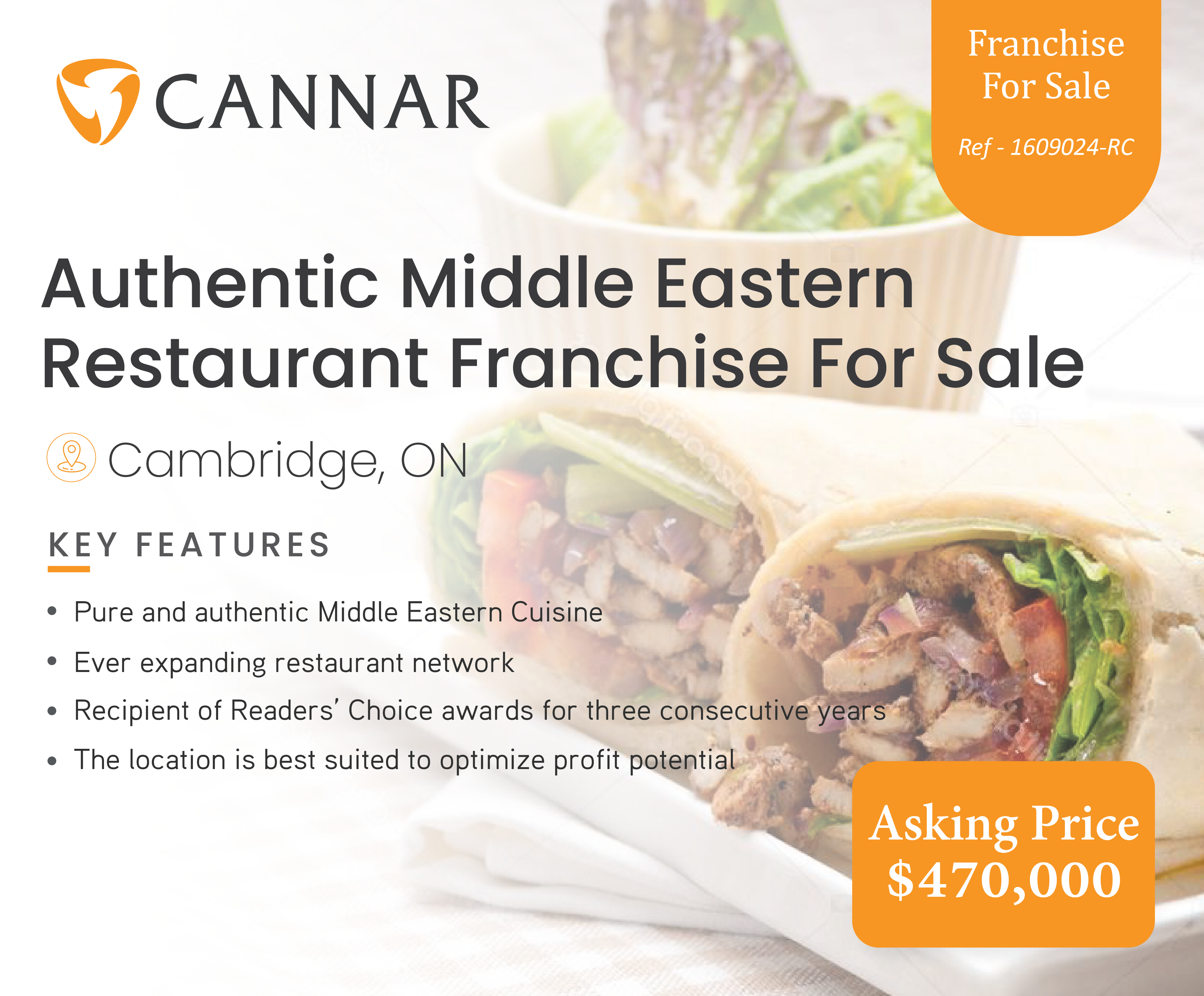 Authentic Middle Eastern Restaurant Franchise For Sale In Cambridge, ON