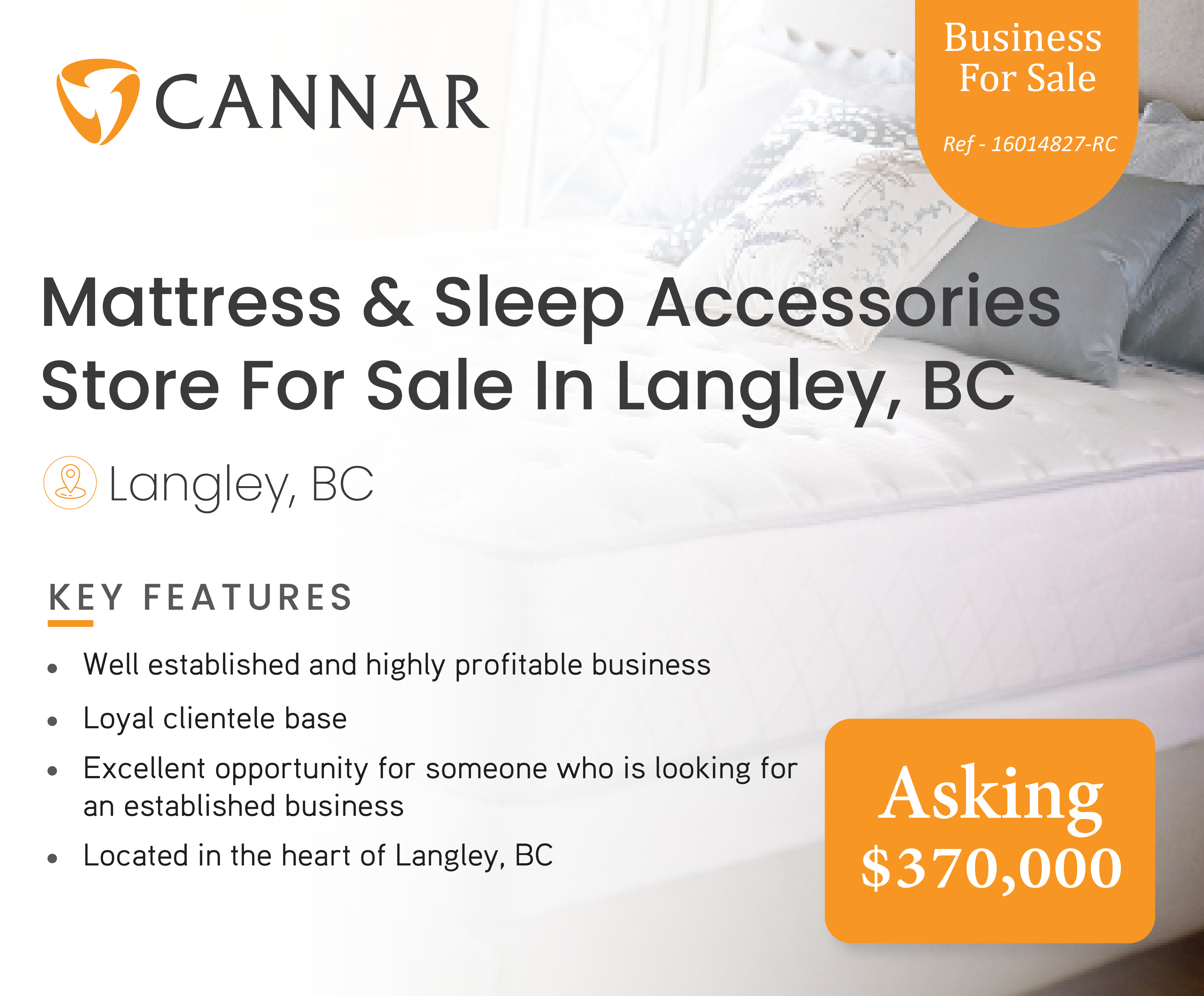 Mattress & Sleep Accessories  Store For Sale In Langley, BC