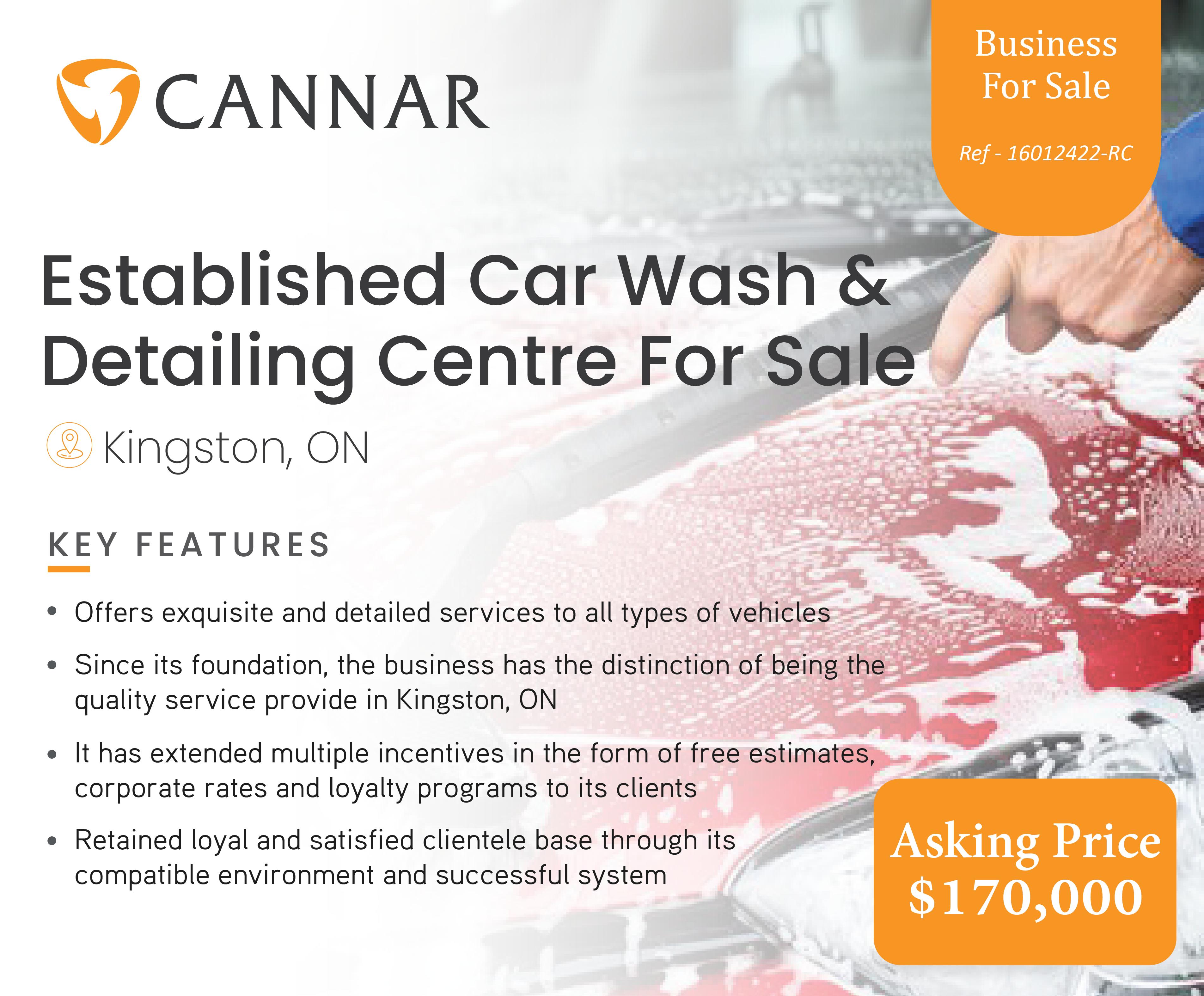 Established Car Wash & Detailing Centre For Sale In Kingston, ON
