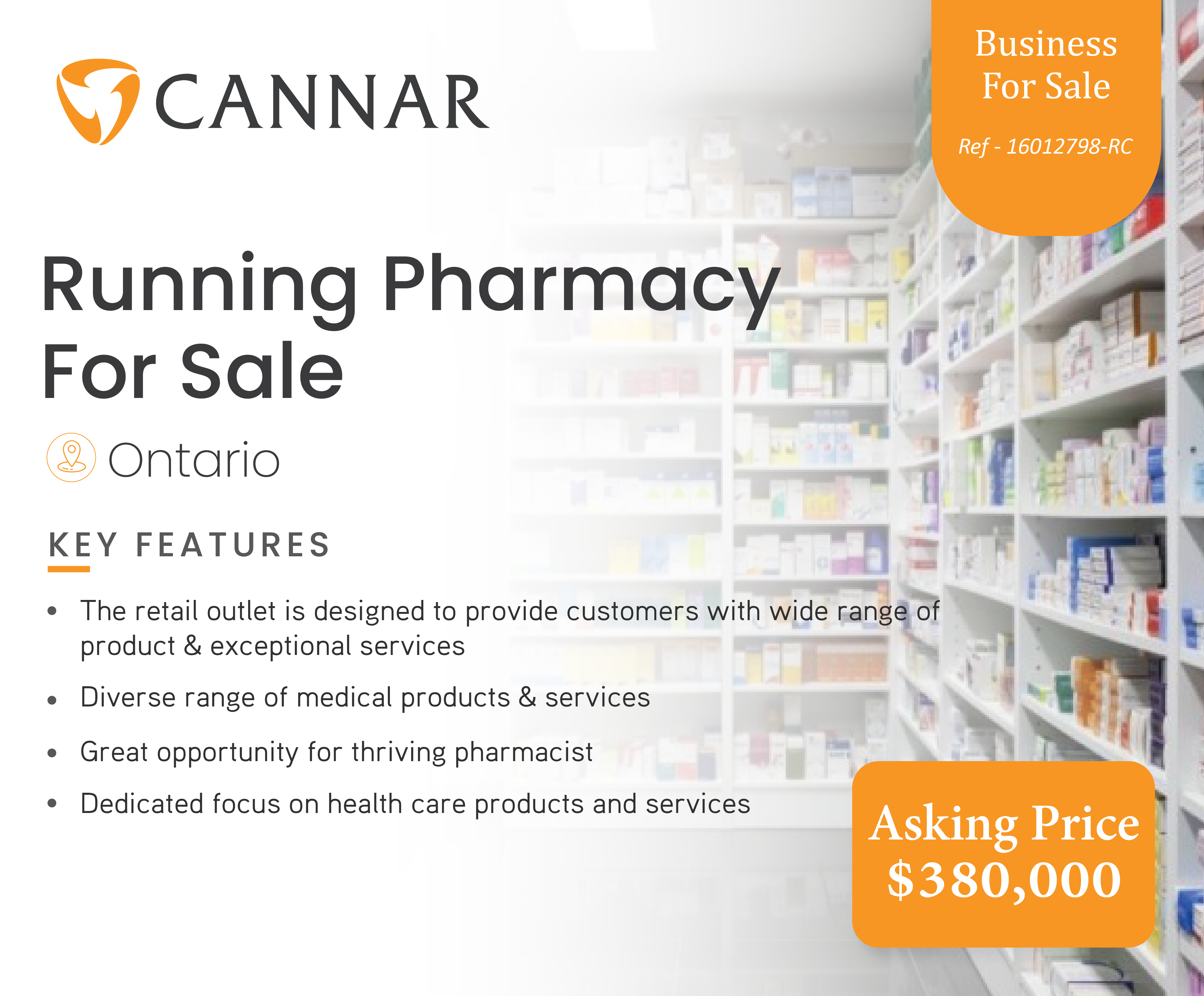 Running Pharmacy For Sale In Ontario